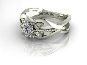 Flower ring, split shank. NO STONES SUPPLIED in Fine Detail Polished Silver