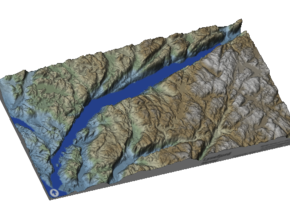 Lysefjord / Lysefjorden Relief Map, Norway in Matte Full Color Sandstone