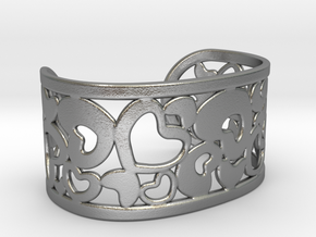 Fine Heart Cuff in Raw Silver