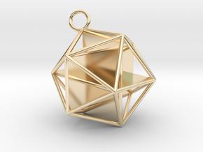 Golden Icosahedron Pendant in 14K Yellow Gold