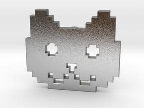 Retro Pixel Cat Pendant in Natural Silver