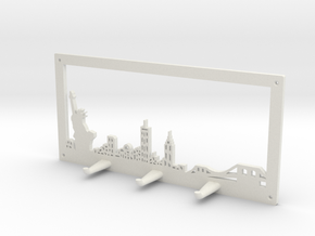 New York Skyline - Key Chain Holder With Border in White Natural Versatile Plastic