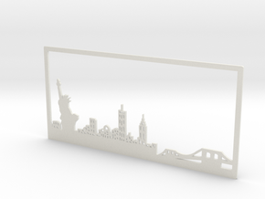 New York Skyline - 11 X 23 (XL) in White Natural Versatile Plastic