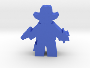 Game Piece, Sheriff, With Badge Pistol in Blue Processed Versatile Plastic