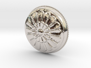 Circular Flowers Relief Pendant in Rhodium Plated Brass