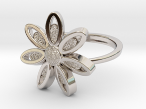 Spring Blossom -Ring in Rhodium Plated Brass