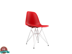 Miniature Eames Plastic DSR Chair - Charles Eames in White Strong & Flexible