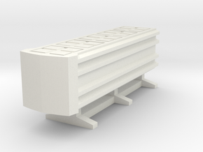 Guard Rail End Barrier in White Natural Versatile Plastic: 1:64 - S