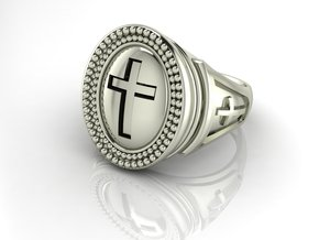 Pastor ring in Fine Detail Polished Silver