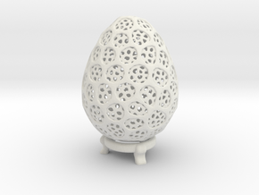 Double Voronoi Easter Egg in White Natural Versatile Plastic