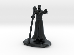 Dragonborn Wizard in Robes with Staff in Black Hi-Def Acrylate