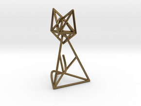 Wireframe Cat in Natural Bronze (Interlocking Parts)