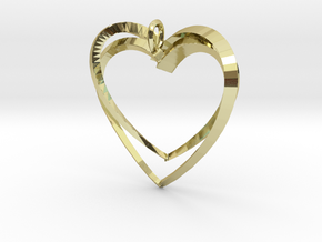 2 Hearts in 18k Gold Plated Brass: Large