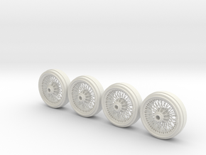 Full set of 1/8 scale Wire Wheels in White Strong & Flexible