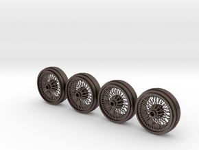 Full set of 1/8 scale Wire Wheels for DB5 in Polished Bronzed Silver Steel