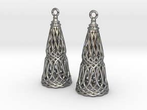 Filligree Cone Earrings in Natural Silver
