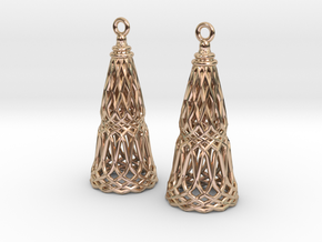 Filligree Cone Earrings in 14k Rose Gold