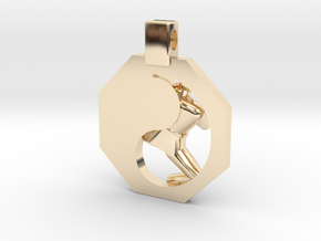 Pendant - (large) Mens Yeop Chagi in 14k Gold Plated Brass