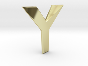 Distorted letter Y in 18k Gold Plated Brass