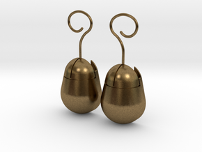 Mouse SD Card Holder Earrings (Rounded) in Natural Bronze