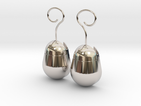Mouse SD Card Holder Earrings (Rounded) in Platinum