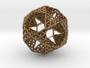 "FOL IcosiDodecahedron w/ nest Dodecahedron 2.3"" in Natural Brass"