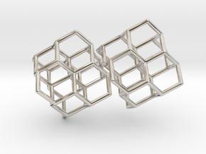 Diamond earring pair in Rhodium Plated Brass
