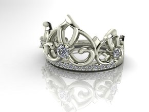 Crown ring Princess NO STONES SUPPLIED in Fine Detail Polished Silver