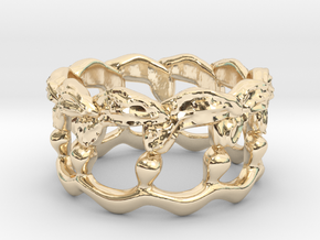 Kelp Ring - Nature Jewelry in 14k Gold Plated Brass: 5 / 49