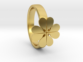 """Ring """"Four-leafed Clover"""" in Polished Brass: 6 / 51.5"""