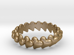 Hearts Bracelet 78 in Polished Gold Steel