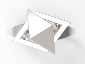 Female Ring-Crystal S B in Polished Silver: 10 / 61.5