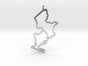 Ijsselmeer Nautical Chart Pendant in Natural Silver