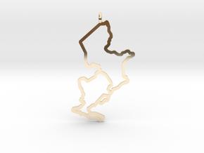 Ijsselmeer Nautical Chart Pendant in 14K Yellow Gold
