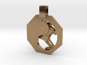 Pendant - Mens Yeop Chagi in Natural Brass