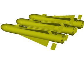 1/18 scale Hughes AGM-65 Maverick missiles x 3 in Smooth Fine Detail Plastic