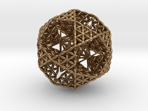 Double Nested Flower Of Life IcosiDodecahedron 2.3 in Natural Brass