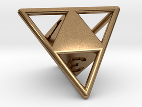D4 with Octohedron Inside in Natural Brass