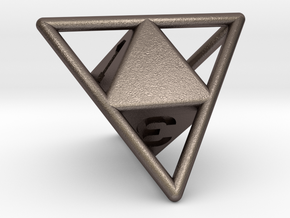 D4 with Octohedron Inside in Polished Bronzed Silver Steel