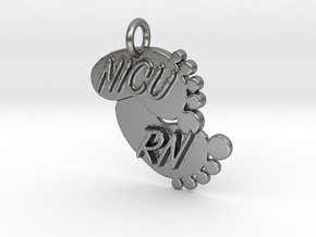 NICU RN Foot Print Keychain in Natural Silver