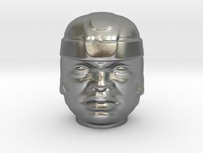 Olmec Head  in Natural Silver: Small