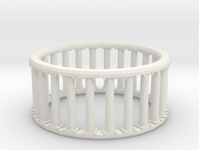 Greek/Roman Pillar Ring in White Natural Versatile Plastic