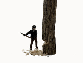 HO LOGGING Feller #1 Chopping down tree Figure in Smooth Fine Detail Plastic