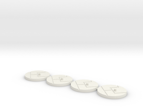 "1"" Titan Scale Bases (4)  in White Natural Versatile Plastic"
