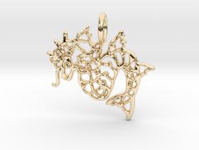 Gyarados Pendant II in 14k Gold Plated Brass
