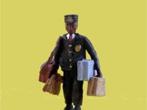 S Railroad PORTER w Luggage Figure in Smooth Fine Detail Plastic