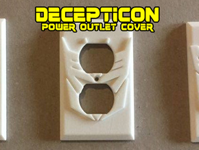 Decepticon Symbol Power Outlet Plate in White Natural Versatile Plastic