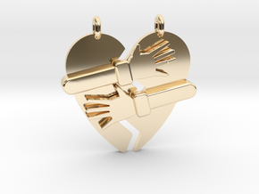Hold My Heart Pendant (Two-Piece) in 14k Gold Plated Brass