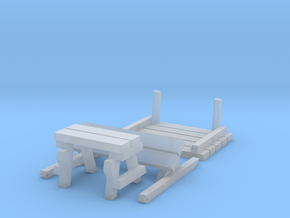 Folding Bench in Smooth Fine Detail Plastic