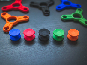 Bearing Caps for Fidget Spinner - Concave - Set   in Black Natural Versatile Plastic